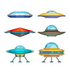 Set cartoon funny aliens spaceships vector