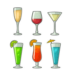 set glass wine champagne cocktail vintage vector image