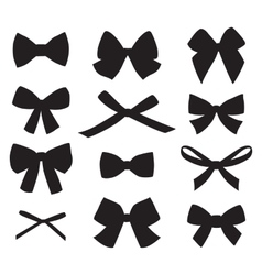 set graphical decorative bows vector image