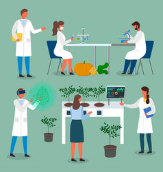 Set laboratory workers scientists exploring vector