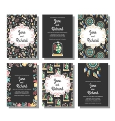 Set of wedding invitations save the date card vector