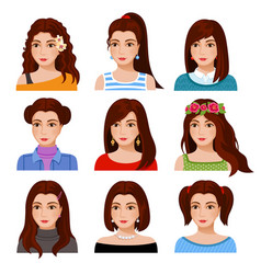 Set of woman faces with various hairstyle vector