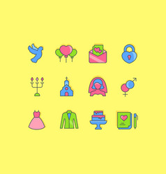 set simple line icons wedding vector image