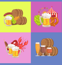 sets of beer symbolic pics vector image
