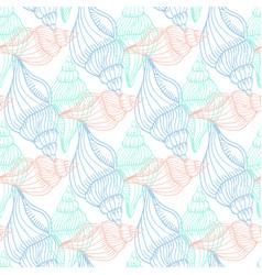 Shells vintage seamless pattern hand drawn marine vector