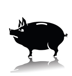 silhouette of piggy bank vector image