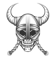Skull in viking helmet vector