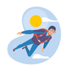 skydiving man parachuting sport skydiver vector image