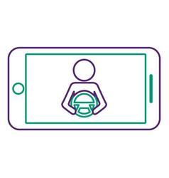 Smartphone gps navigation driver at steering wheel vector