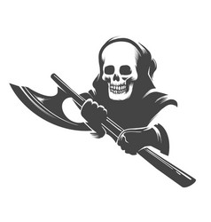 Smiling skull in hood with executioner axe vector