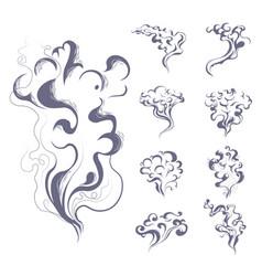 smoke and vapor or steam smoking cigarettes and vector image