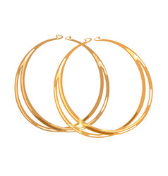 Stylish double hoop or rings yellow gold earrings vector