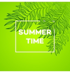 Summer time of tropical palm vector