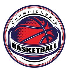 template with basketball ball on theme vector image