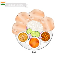 Thali or Indian Steamed Rice Flatbread and Lentil vector
