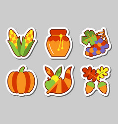 Thanksgiving icon sticker set isolated vector