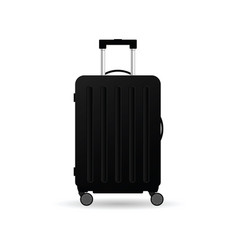 Travel suitcase in black color with wheels vector
