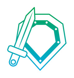 video game shield and sword items vector image