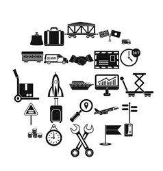 warehouse worker icons set simple style vector image