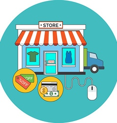 Web store Online shop concept Flat design Icon in vector image
