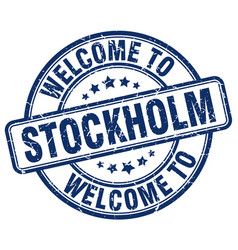 Welcome to stockholm blue round vintage stamp vector