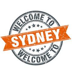 Welcome to sydney orange round ribbon stamp vector