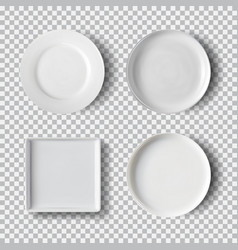 White plate set isolated on transparent background vector