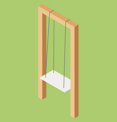 white wooden swing hanging on ropes image vector image