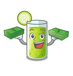 With money delicious cucumber juice on table vector