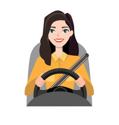 Woman driving a car woman clothing in casual vector
