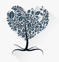 Abstract Heart Shaped Tree with Roots vector image