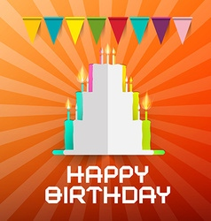 Happy Birthday Paper Cut Cake with Candles and vector image