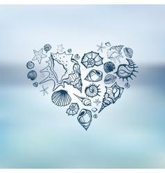 Heart of Sea shells Summer holidays vector image vector image
