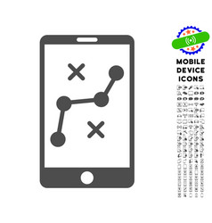 mobile navigation route icon with set vector image vector image