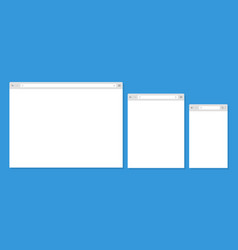 open internet browser window in a flat style vector image