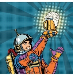 retro astronaut and a mug of beer vector image vector image