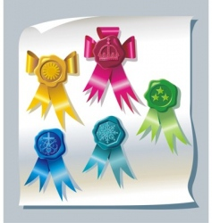 sealing wax stamp with ribbons vector image vector image