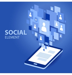 social icon group element flirtation blue vector image vector image