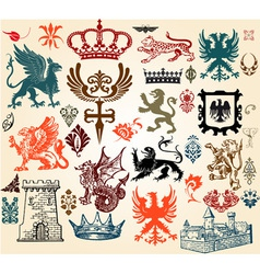 vintage heraldry design elements vector image vector image
