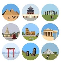 World landmarks flat icon set vector image vector image