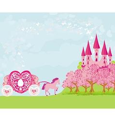 beautiful fairytale pink castle vector image