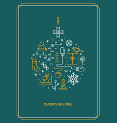 christmas template for greeting card vector image