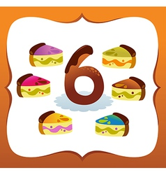 Collection Sweet Numbers for Kids 6 vector image vector image