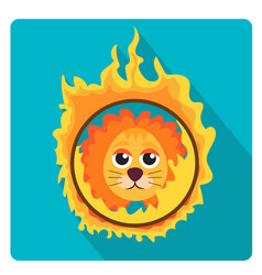 Lion jumping through a ring of fire in the circus vector
