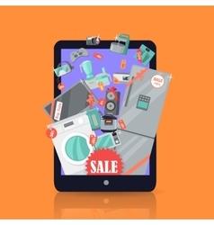 Online supermarket sale appliances in suitcase vector