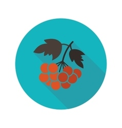 Rowan branch flat icon with long shadow vector image