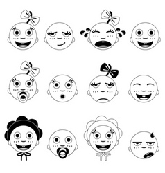 baby face set vector image