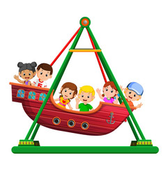 children playing on viking ride at carnival vector image