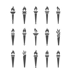 icons torch with flame isolated set vector image vector image