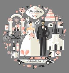 Wedding symbols set vector image vector image